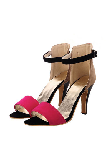 Open Toe Ankle Strap Color Block Stiletto Sandals