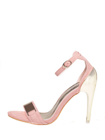 Pink Metal Ankle Strap Stiletto Sandals