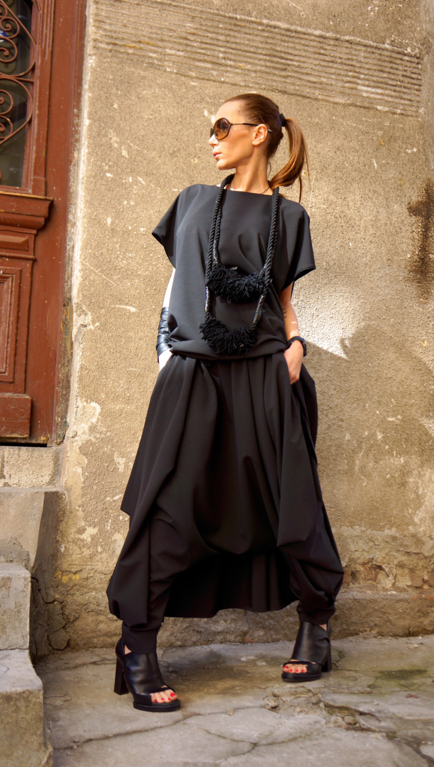 Loose Wide Black Skirt - Pants