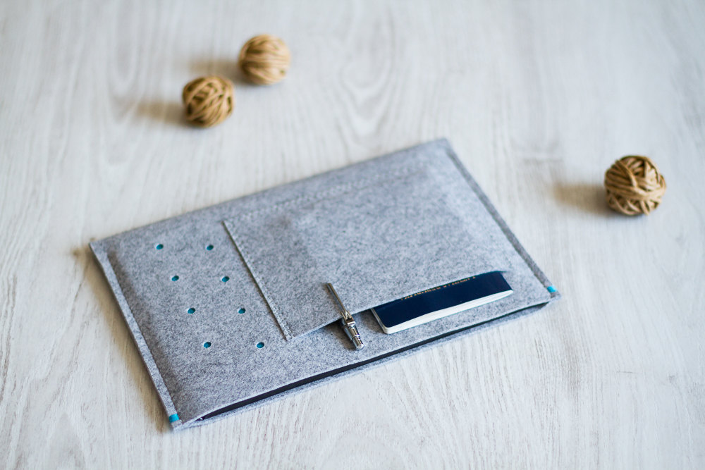 Gray iPad Sleeve Case With Pocket