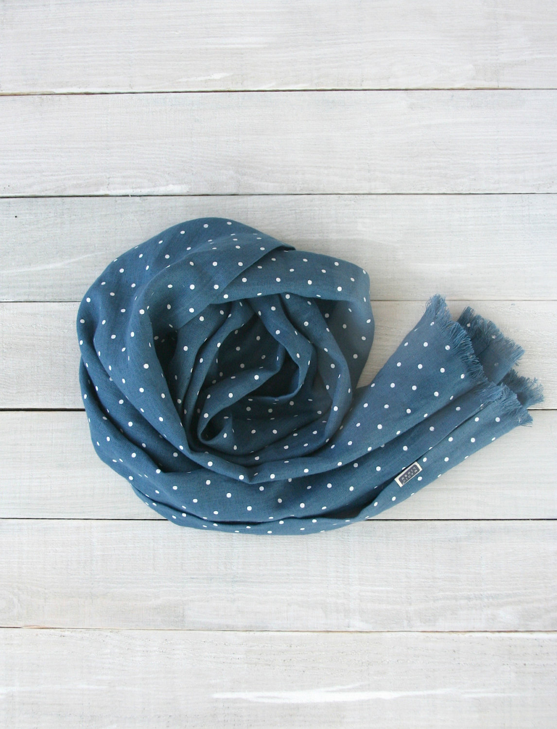 Softened blue linen scarf with dots